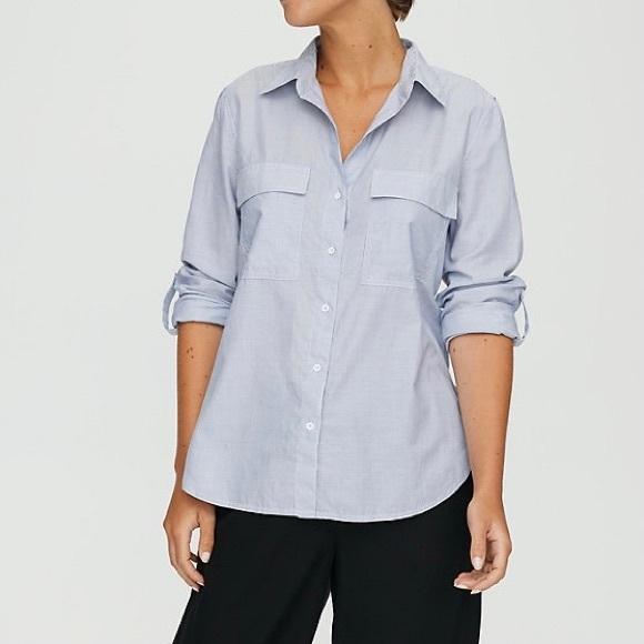 Aritzia Babaton Utility Button-Up Shirt Striped L